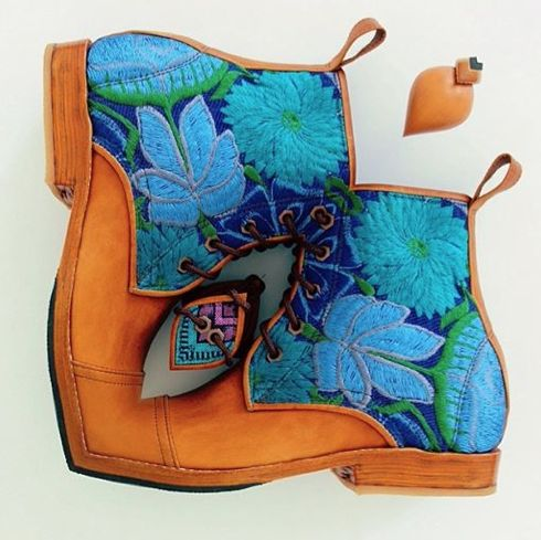 Lavender Blooms Handmade Teysha boots from Guatemala #teysha #boots #handmade #guatemala #huipil