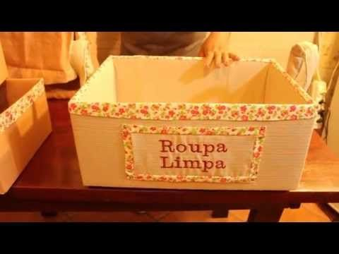 Como fazer organizadores com caixas de papelão forradas com tecido - YouTube