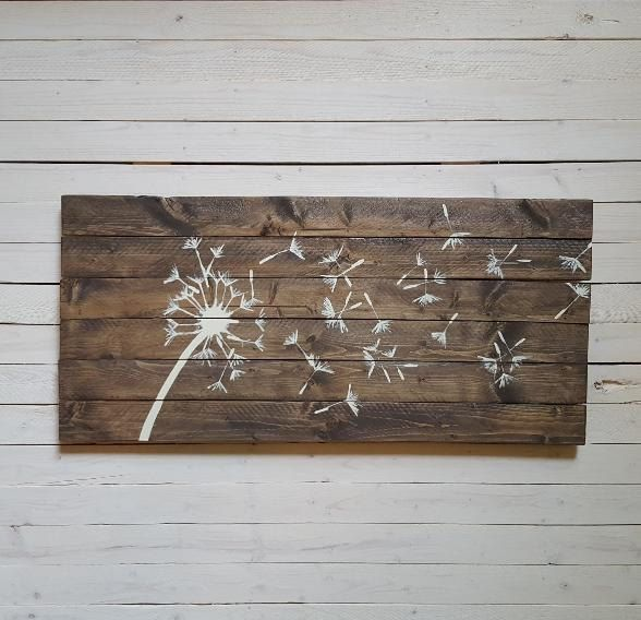 9x 20 Dandelion Wall Art, Wood Panel Art, Handpainted Wood Panel, Wood Plank Art