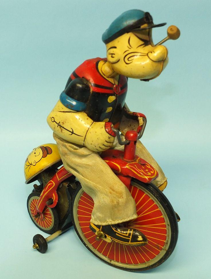 Vintage Lineman Mechanical Popeye Cyclist Tin Wind Up Toy