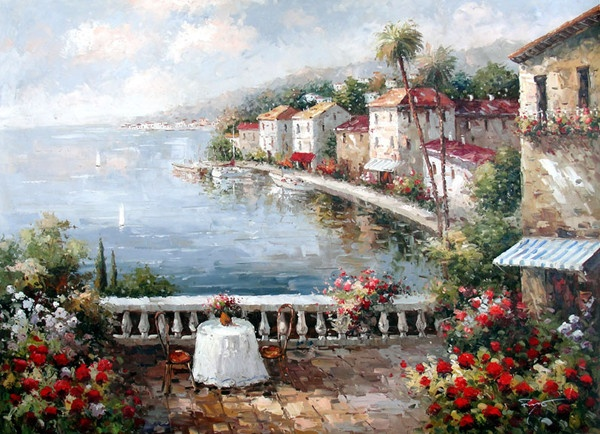 Table on the Seaside Terrace II by Moreyov - Original Oil Painting Artist: Moreyov Size: 36 High x 48 Wide Canvas Hand-painted, original oil painting on unstretched canvas.
