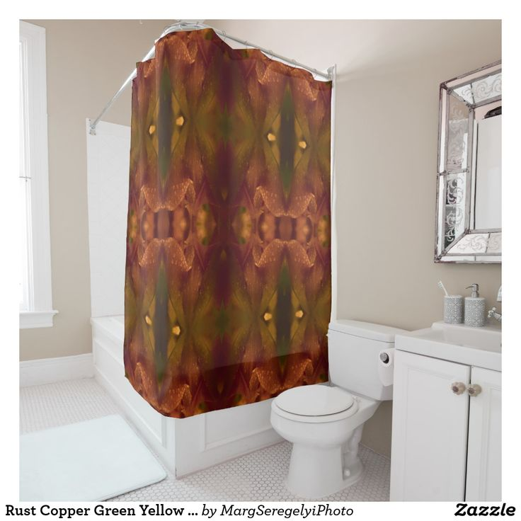 Yellow Bathroomideas: Rust Copper Green Yellow Abstract Tulip Shower Curtain