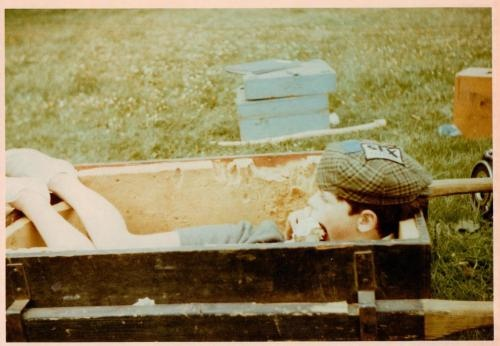Stephen Grendon in the box designed to carry the 35mm Panavision camera on location at Bank Ground Farm in Cumbria back in 1973