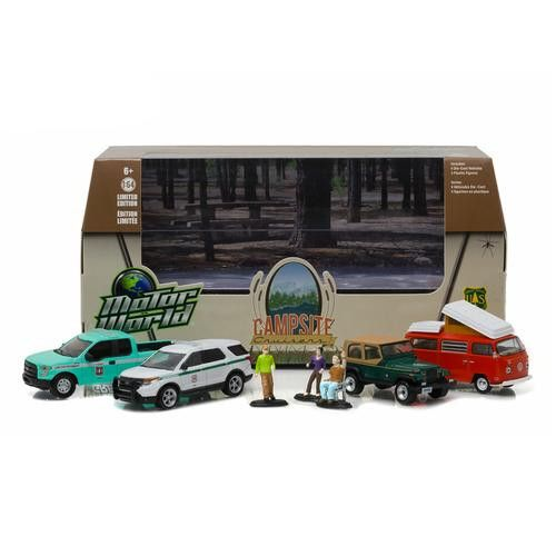 Motor World Diorama Campsite Cruisers United States Forest Service (USFS) Edition 7pcs Set 1/64 Diecast Models by Greenlight
