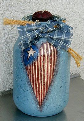 Americana Painted Jars - WOW, I am a sucker for Americana and RWB things.  I may have to try this one.