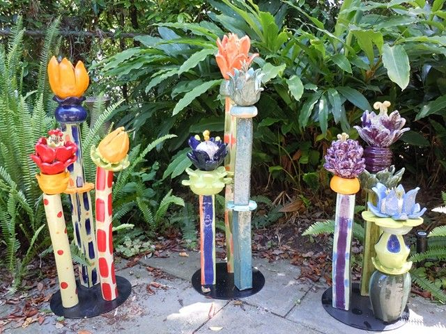 Garden flowers totems by Peggy Bishop Pottery