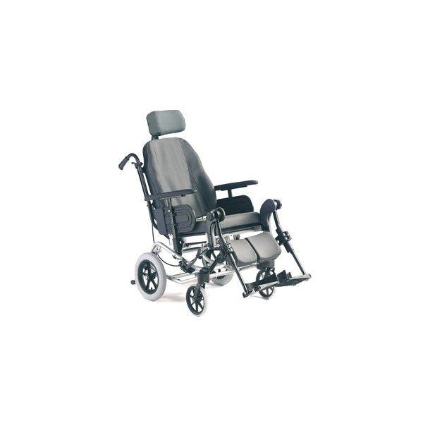 SILLA DE RUEDAS PASIVA POSICIONADORA - REF: CLEMATIS: La silla Clematis es la respuesta adecuada a los problemas ligados a una posición sentada prolongada. Su respaldo ergonómico redondeado en su parte superior tiene soportes laterales en su parte inferior.  Esta silla está equipada con basculación de asiento mediante pistón neumático y reclinación de respaldo para una posición casi estirada.