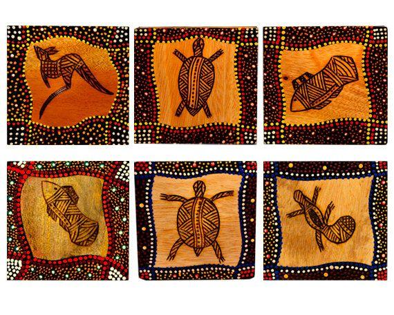 Australian Aboriginal Hand Painted Art Coasters by AboriginalOzArt