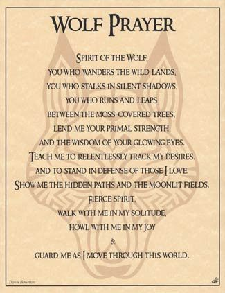 Printed over a stylized image of a wolf`s head, illustrated by artist Eliot Alexander, this parchment poster displays a shamanic prayer to the spirit of the wolf as envisioned by the spiritual wordsmi