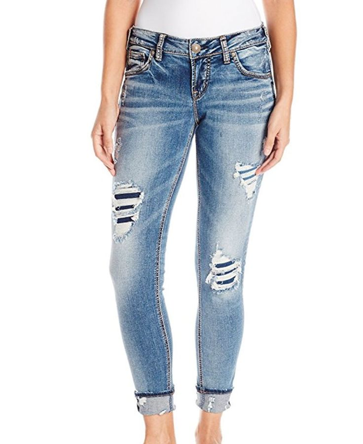 Silver Jeans Medium Wash Distressed Girlfriend Jeans