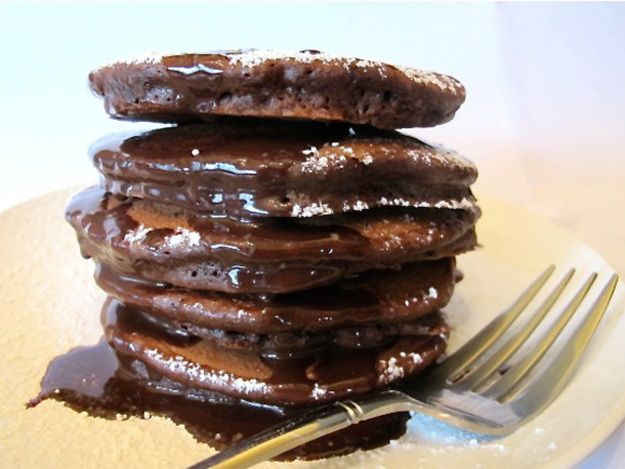 These chocolate pancakes are great for breakfast or dessert.