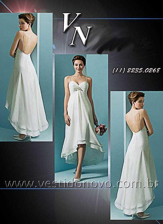 51e034bd0 vestido branco longuete, mulet , casamento civil, salão, praia ou campo da  CASA