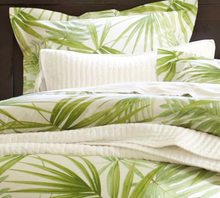 Pottery Barn Green Palm Frond Leaf FULL QUEEN Duvet Cover Brand New
