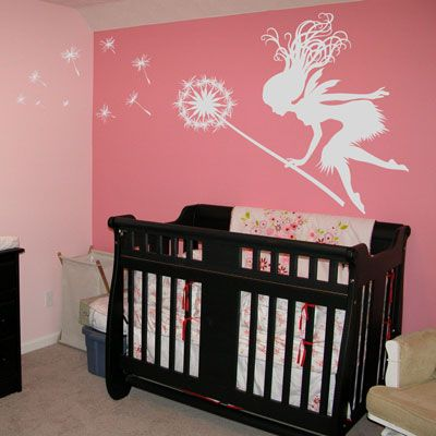I used this Decal in W's room. I painted her walls French taupe (pinkish-purple)