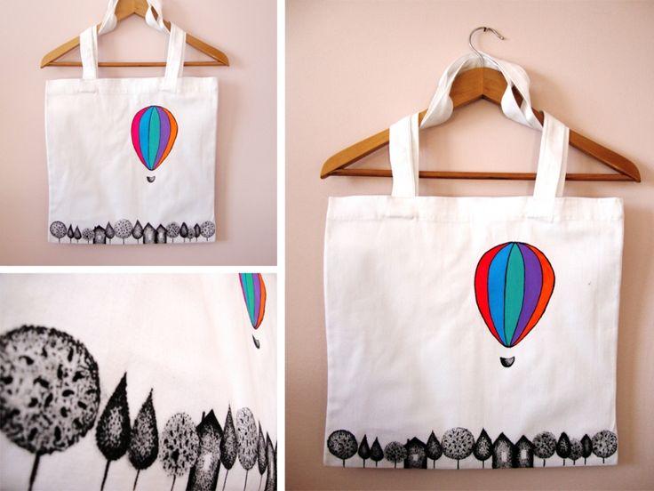 Balonla Gezi El Yapımı Bez Çanta Zet.com'da 40 TL