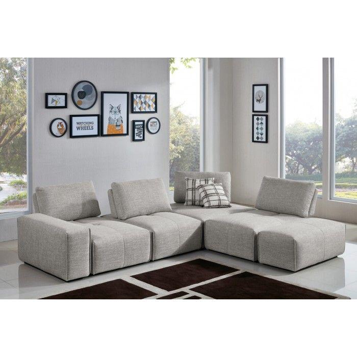 Divani Casa Platte Modern Grey Fabric Modular Sectional Sofa