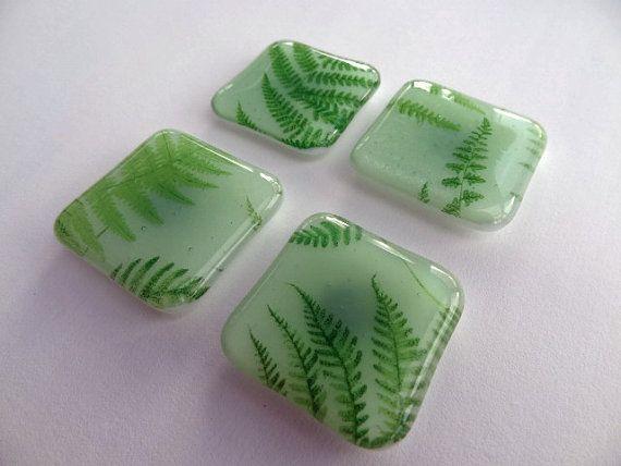 "SALE Set of 4  Green ""Funky Fern"" Hand-Made Fused Glass Fridge Magnets (each measuring 4cmx4cm sq)"
