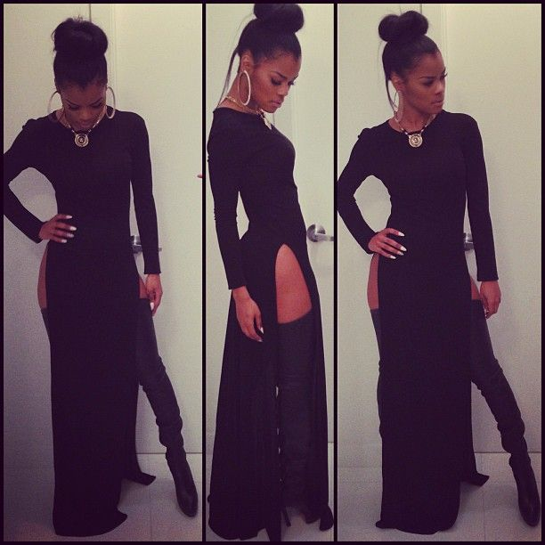 O.M.G. Must have this dress or some variation. Nice NYE look :) Get the Look: Teyana Taylor's Instagram Black Long Sleeve Double Slit Maxi Dress