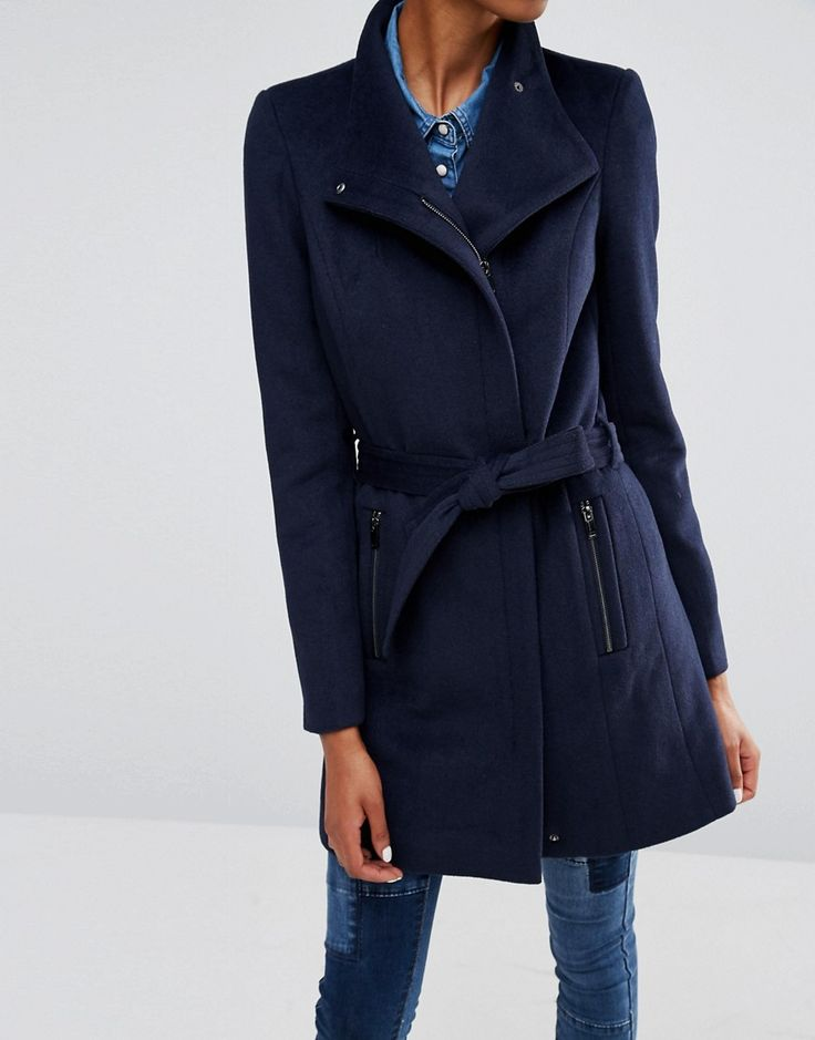 Shop Vero Moda Tall Belted Funnel Neck Wool Coat at ASOS.