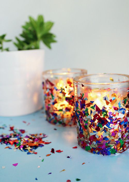 CONFETTI VOTIVE CANDLE HOLDERS - Glitter is old school...now it's all about confetti! This decor craft idea is perfect for a party.