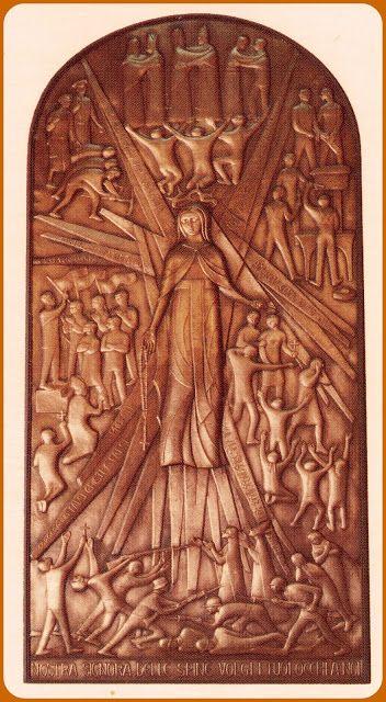 Pala in rame dell'altare della Madonna delle Spine dello scultore Renato Valcavi. Preghiera alla Madonne delle Spine