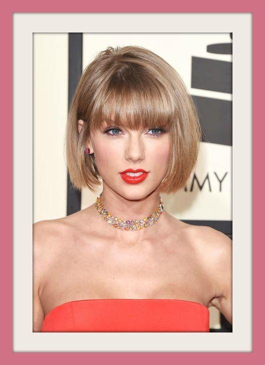 Taylor Swift nuovo Taglio di Capelli a caschetto con frangia 2016