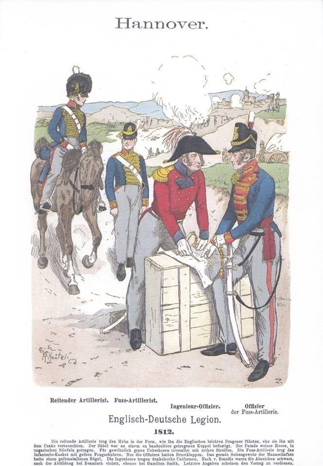 Band III #53.- Hannover: Englisch-Deutsche Legion. Reitender Artillerist. Fuß-Artillerist. Ingenieur-Offizier. Offizier der Fuß-Artillerie. 1812.