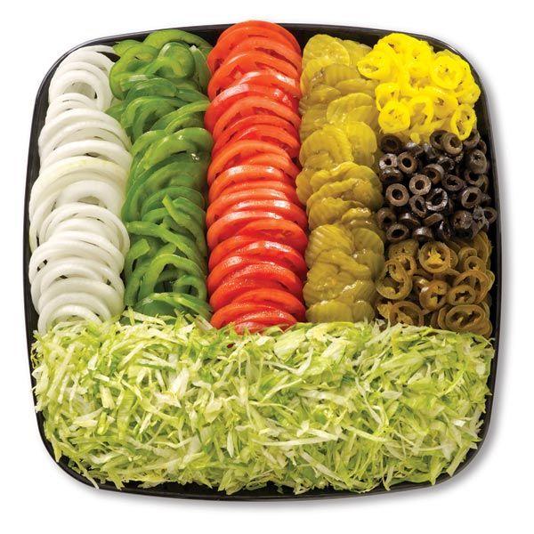 Sandwich toppings: Shredded iceberg lettuce, tomatoes, onion, peppers, pickles, jalapenos, olives, banana peppers