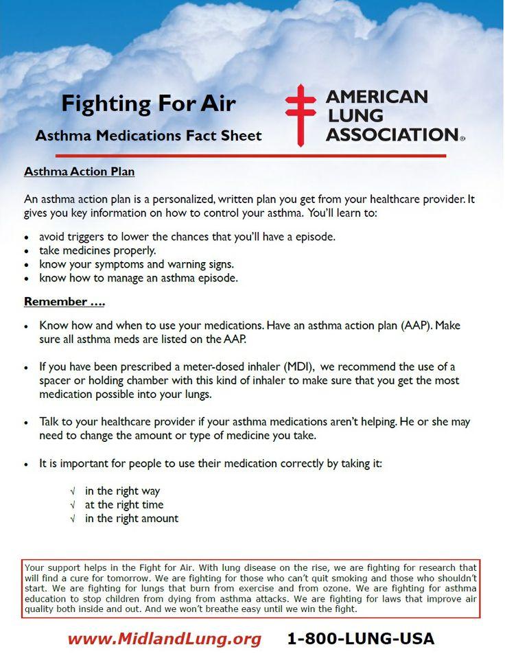 Asthma Medications Fact Sheet page 2 | Awareness | Pinterest