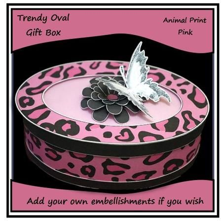 Trendy Oval Gift Box Pink on Craftsuprint - Add To Basket!