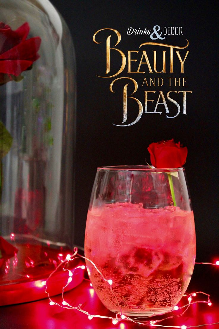 Disney's Beauty and the Beast Inspired Cocktails. Enchanted Rose drink, rosè, wine, be our guest