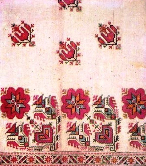 Clothes and Bulgarian Embroidery (Arts and Crafts) Embroidery with floral ornaments from Sofia region
