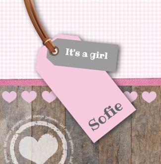 Geboortekaartje   Sofie Meisje, lief, hout, roze, label