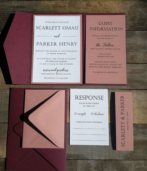 Marsala and Dusty Rose Wedding Invitation Suite, Burgundy and Pink Wedding Invitation, Pocketfold Invitation, Mauve Pink, Burgundy, Modern