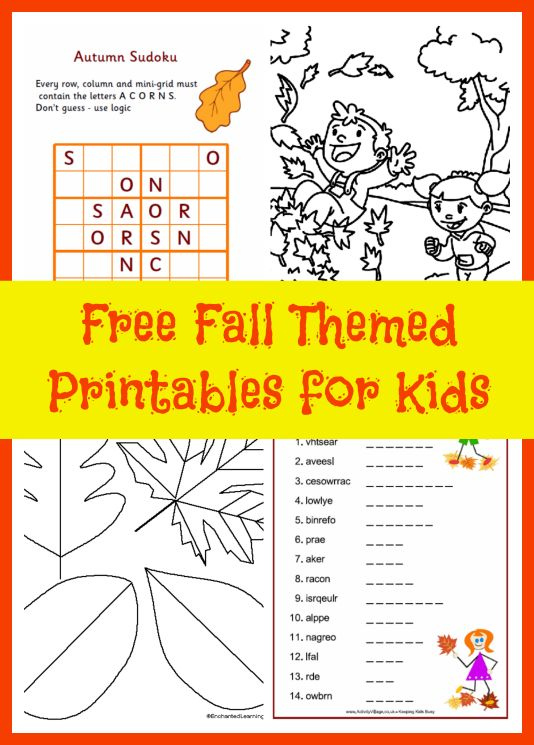 Free Fall Printables for Kids Puzzles coloring pages