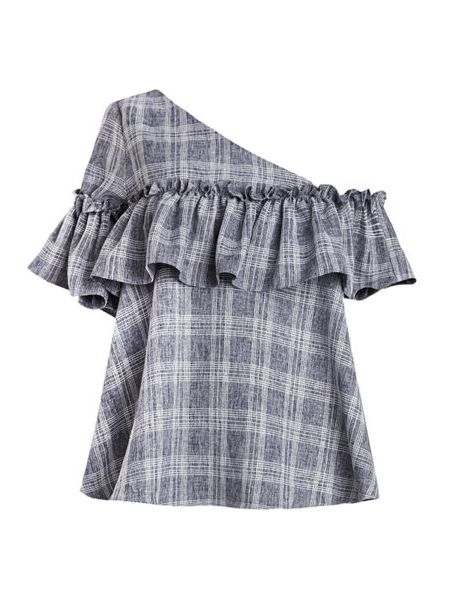We're calling one-shoulder styles as a major trend this fall - a departure from the off-the-shoulder looks that were all over this spring and summer. Grid Asymmetric Ruffled One Shoulder Top, New Revival $97