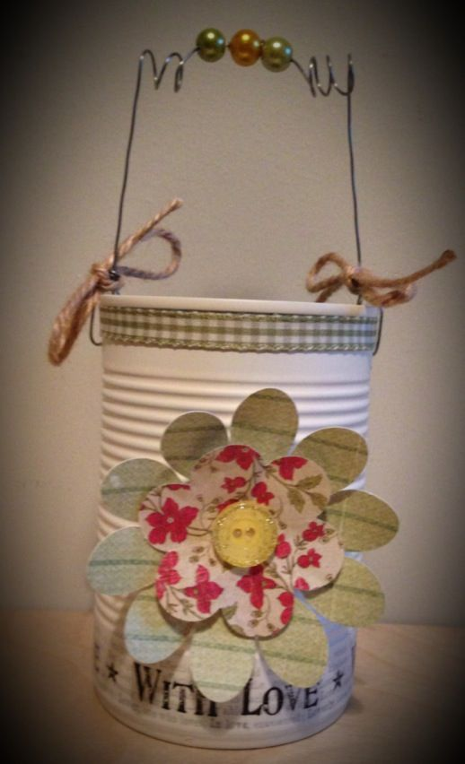 Up cycled tin can with Love Lives Here paper and East of India washi tape :)