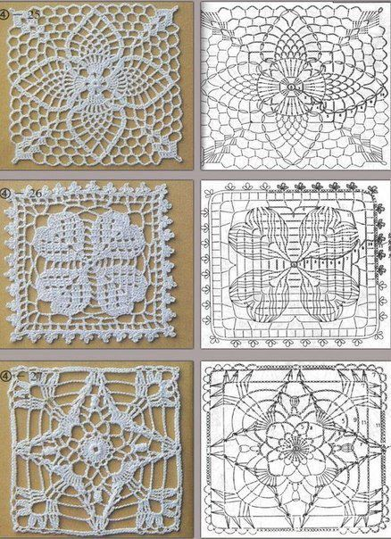 Crochet block /Square openwork motifs / ażurowe motywy kwadratowe