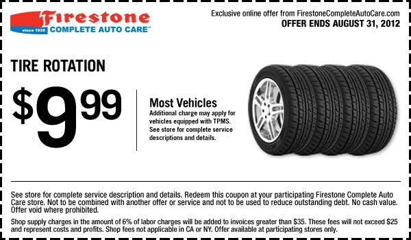 You can get Firestone coupons $9.99 Tire Rotation In-store Printable Firestone Coupon