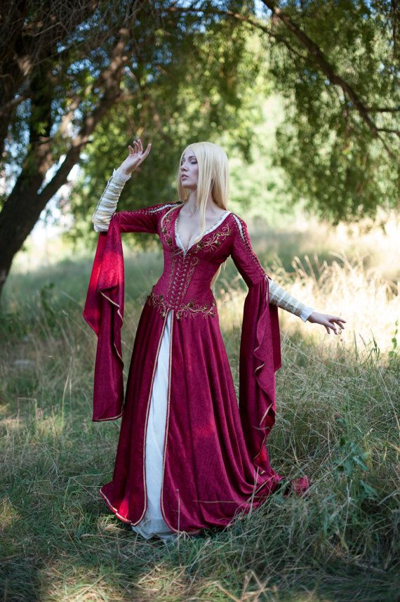 Medieval Fantasy Crimson Dress Game of Thrones by DressArtMystery