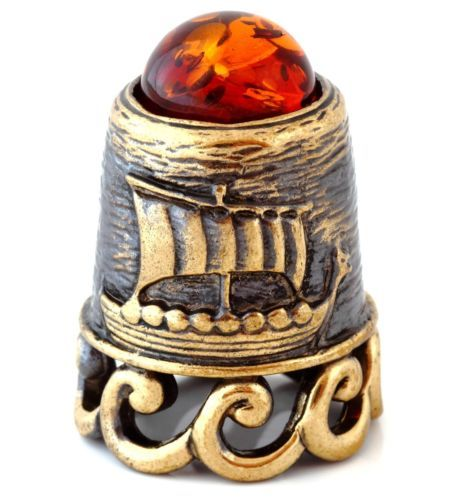 Thimble-Brass-amp-Baltic-Amber-Mast-Galley-Ship-Sailing-Boat-Russian-Souvenir