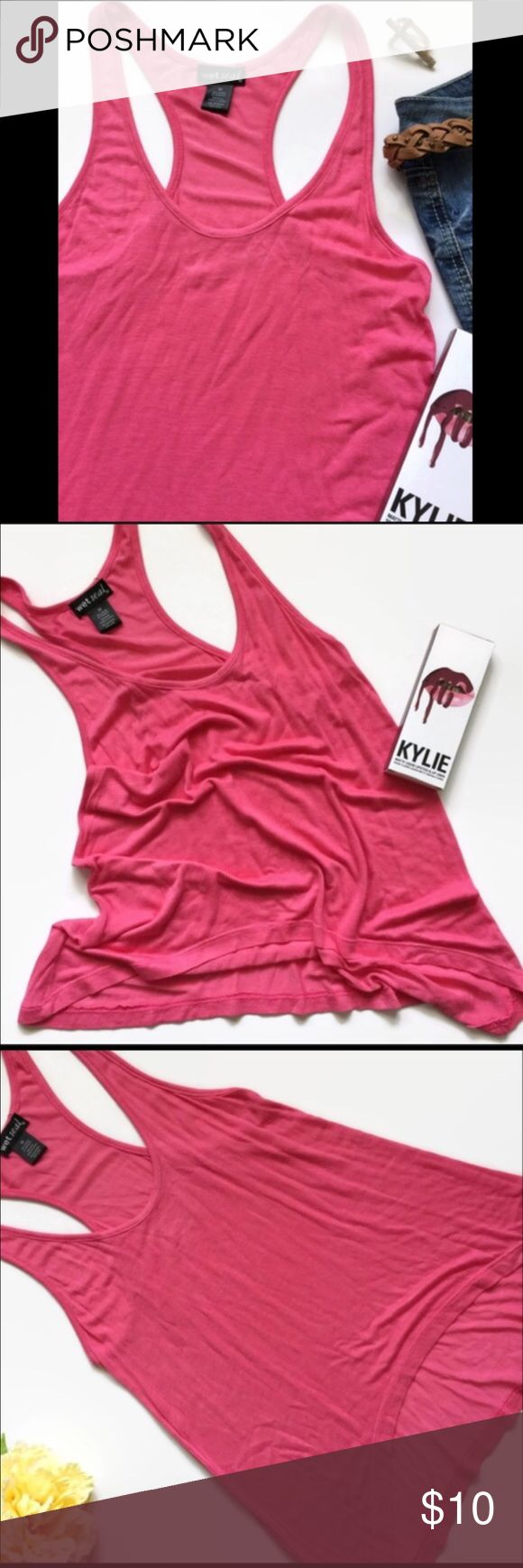Pinkie swear tank Soft pink hi-lo tank. Light weight. Throw this on with your fav shorts & go about the hot summer day! Can never have enough tanks! New without tags. Wet Seal Tops Tank Tops