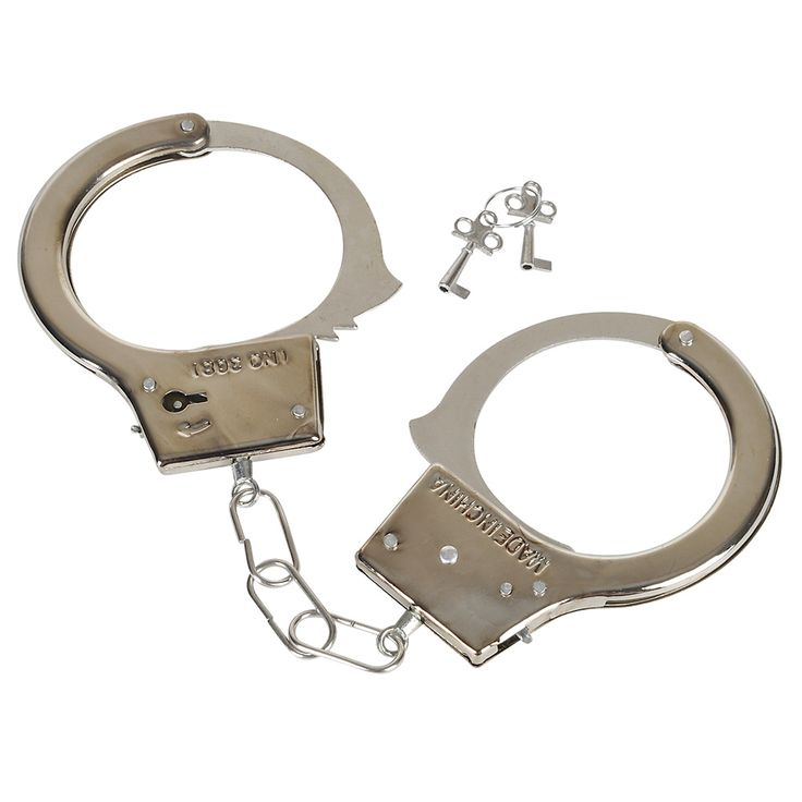 Toy Handcuffs featuring metallic finish come in box for retail resale. Steel toy handcuffs ideal for a Cops and Robbers or police fancy dress party.