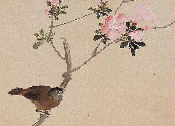 Antiguo pergamino arte japonés de pintura de aves y flores por
