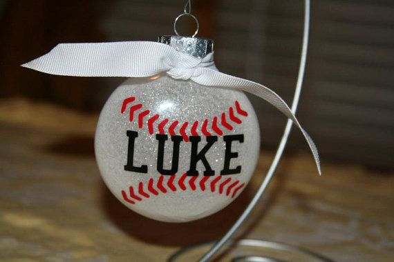 Personalized Baseball Ornament Can add year to the back for no additional charge! Check it out!!! More sports available. https://www.etsy.com/listing/201161160/personalized-baseball-ornament?ref=related-1