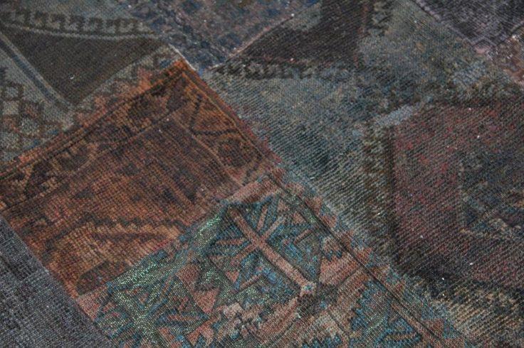 Patchwork vloerkleed, bruin donkergroen 301cm x 205cm