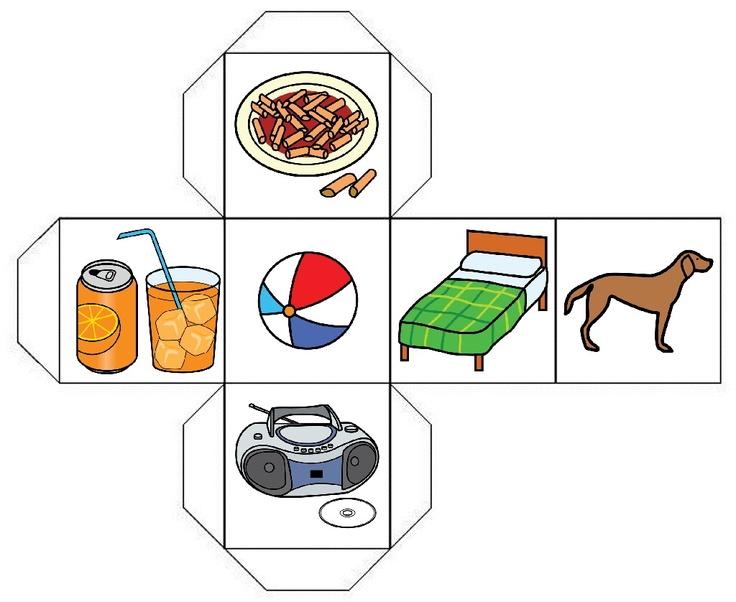 Llenguatge oral: Daus d'objectes per crear frases amb ells.