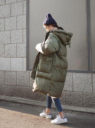 ダウンジャケット・コート オーバーサイズロングダウンコートフード付きジャケット全3色(18)