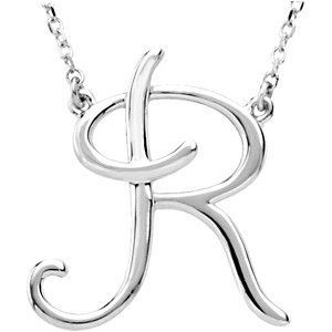 JewelryWeb Sterling Silver Fashion Script Initial Necklace J 16 Inch