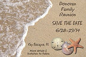 Idea for Family Reunion Save the Date Cards. Would be great for summer reunion at the beach! More save the dates and family reunion favors at http://www.photo-party-favors.com/family-reunion-favors.html